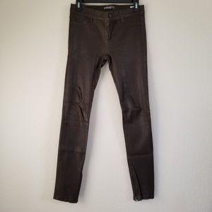 Vince Brown Leather Skinny Pants 4